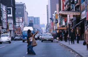 Donwtown Toronto 1975...I have no clue who is in the middle of the road....