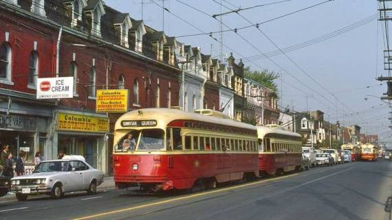 Streetcars on Queen Street c 1970
